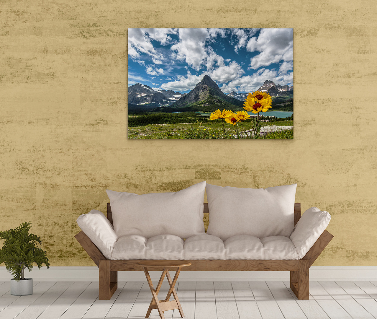 Blanket Flowers and Grinnell Point on Metal – Heavens Peak Photography