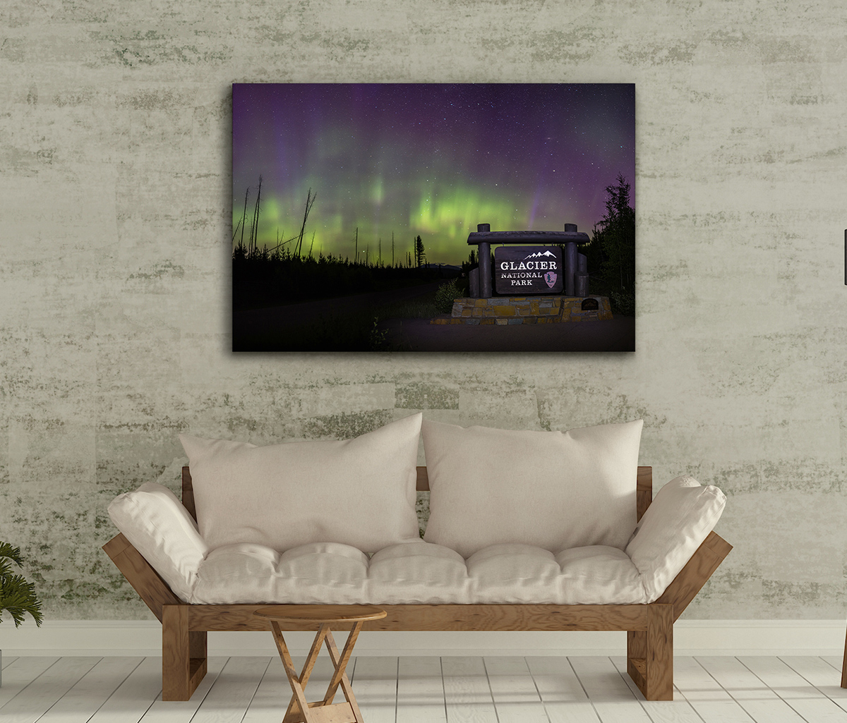 Camas Entrance Aurora on Metal