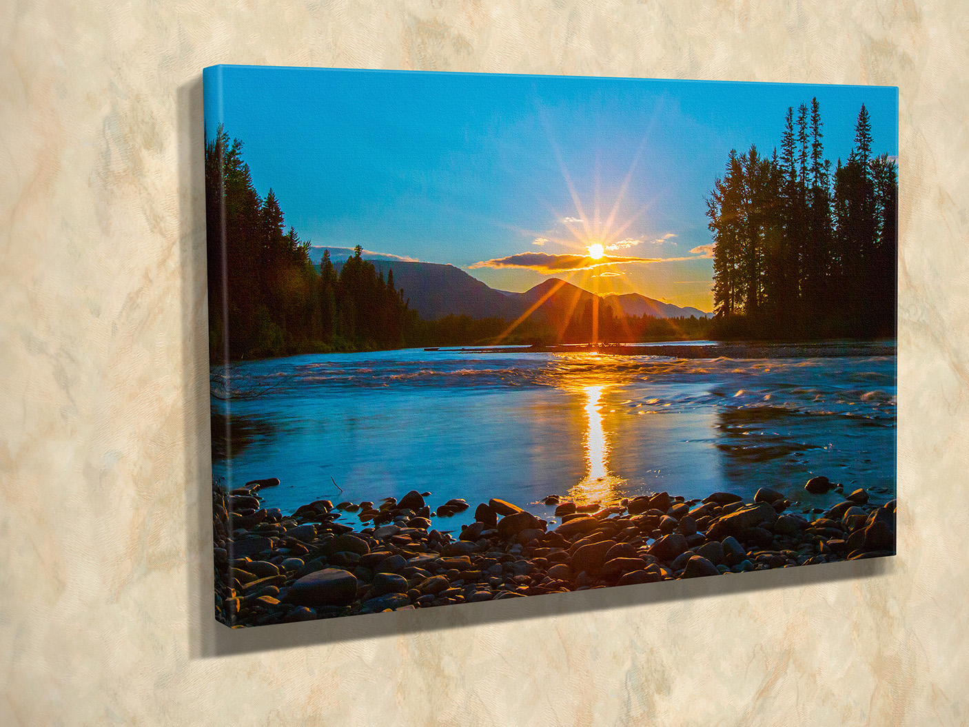 North Fork Sunset Sun Burst Canvas