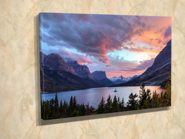 Sunset on St Mary Lake Canvas