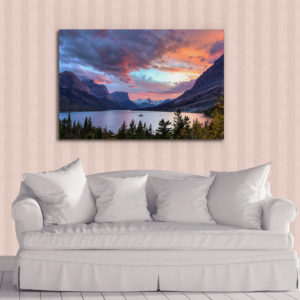 Sunset over St Mary Lake Metal Print