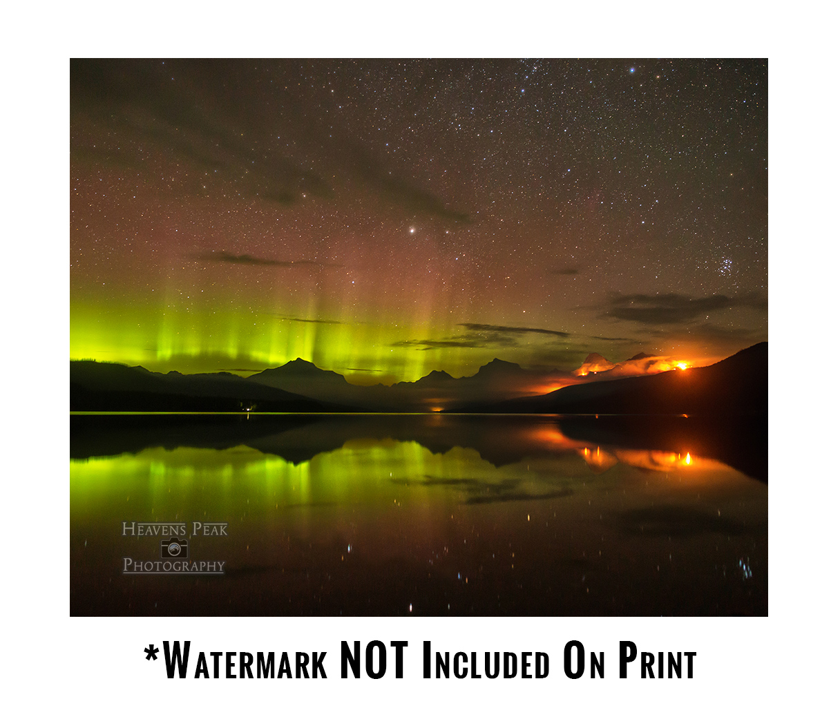 Aurora Borealis and the Sprague Wildfire Photo Print