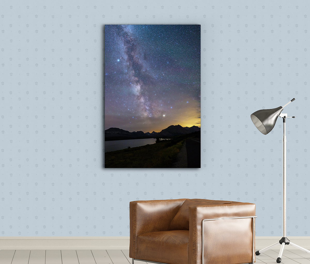 Milky Way over St Mary Lake Metal Print