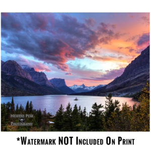 Sunset Over St Mary Lake Photo Print